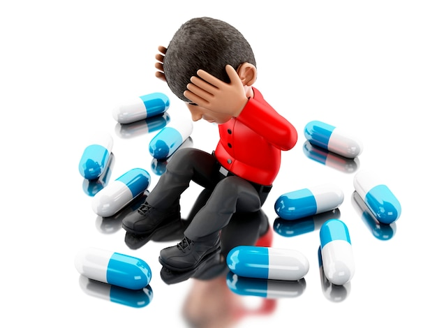 3d people with headache, needs pills.