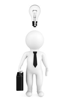 白い背景の上の頭の上に電球を持つ3d人実業家