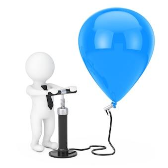 黒のハンドエアポンプを持つ3d人のビジネスマンは、白い背景の上の青い風船を膨らませます。 3dレンダリング