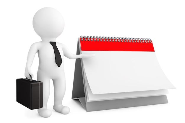 白い背景の上の空白のカレンダーを持つ3d人実業家