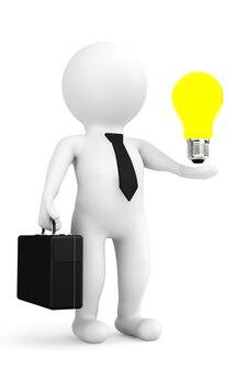 白い背景の上の手にアイデア電球を持つ3d人実業家