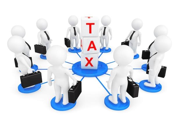 白い背景の上の税キューブを持つ3d人のビジネスマン Premium写真