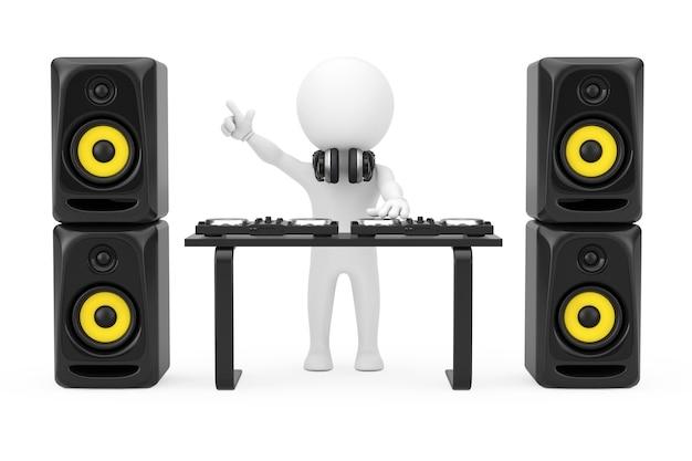 흰색 배경에 세션에 턴테이블, 스피커 및 헤드폰이 있는 3d 사람 디스크 자키. 3d 렌더링.