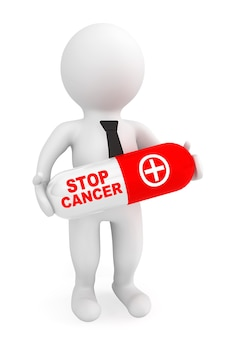 3d 사람 흰색 배경에 중지 암 기호가 있는 알약을 잡아