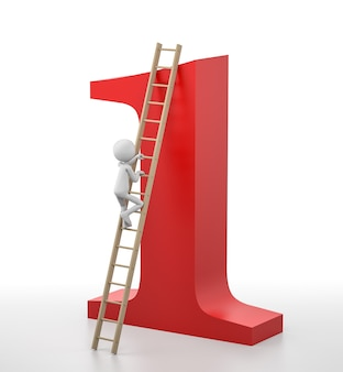 3d person is climbing a ladder that leads at the top of the number one. 3d rendering image