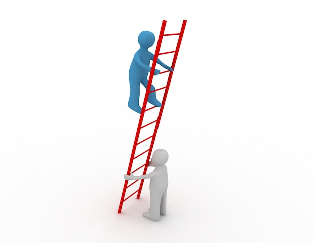 3dの人は別の人が登るのを手伝っています