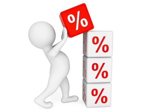 3d человек, помещающий процентные кубики на белом фоне