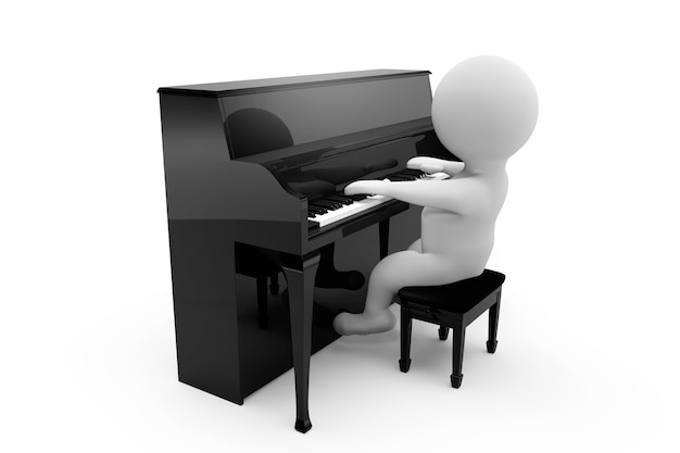 白い背景でピアノを弾く3d人