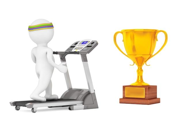 トレッドミルで走っている3dの人は、白い背景の前に大きな黄金のトロフィーに。 3dレンダリング