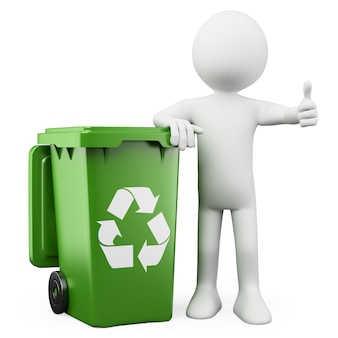 3d person showing a green bin for recycling