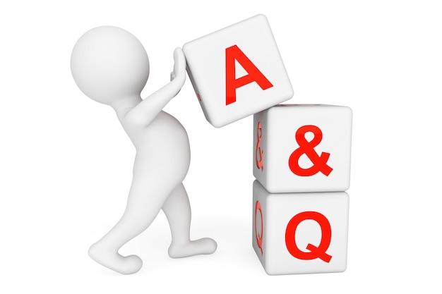 3d человек с кубиками ответов и вопросов на белом фоне