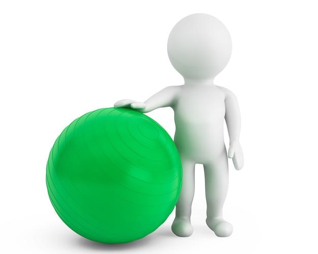 白い背景の上のピラティスエクササイズボールを持つ3d人