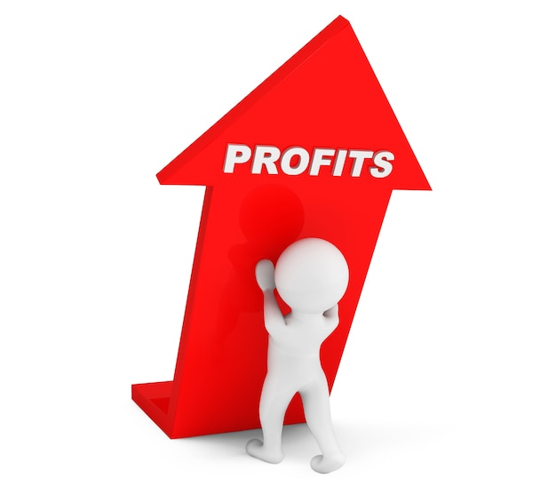 3d person with profits arrow on a white background