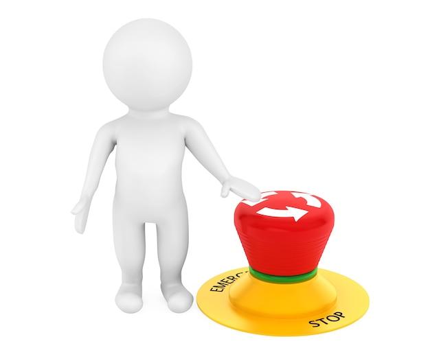 3d человек с красной аварийной кнопкой на белом фоне