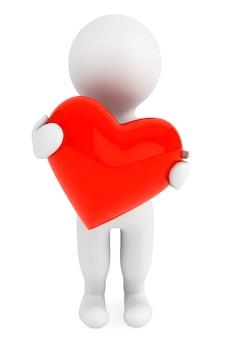 3d человек с красным сердцем на белом фоне