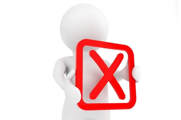 3d человек с красным отрицательным символом в руках на белом фоне
