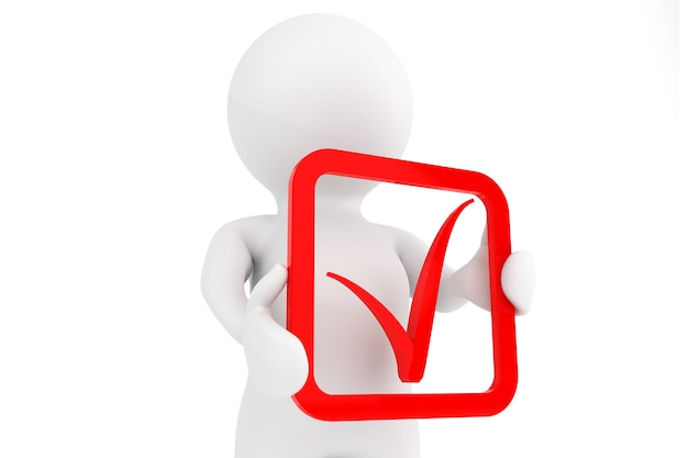 3d person with red positive symbol in hands on a white background