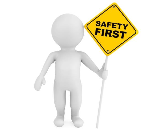 白い背景の上の安全第一交通標識を持つ3d人