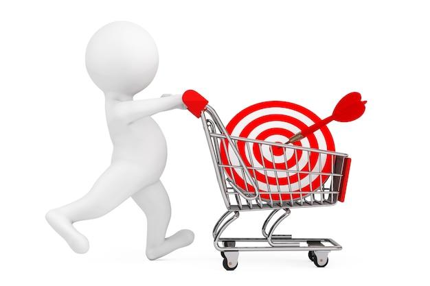 白い背景の上のダーツとしてショッピングカートとターゲットを持つ3d人。 3dレンダリング。