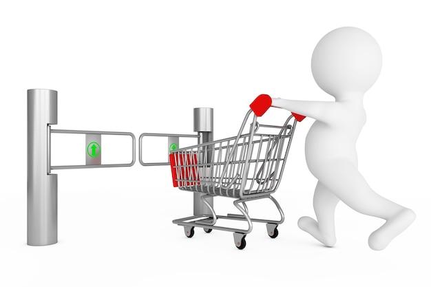 Человек 3d с магазинной тележкой перед входным турникетом магазина турникет со знаком стрелки на белой предпосылке. 3d-рендеринг.
