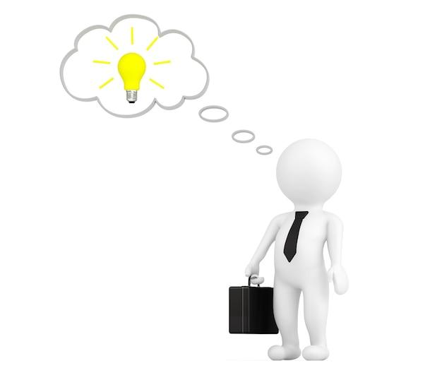 白い背景の上の思考バブルとアイデア電球を持つ3d人