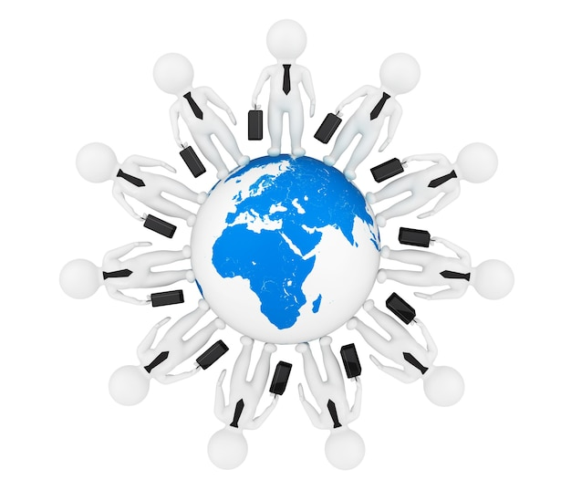흰색 배경에 지구 글로브 주위 3d 명 사업가