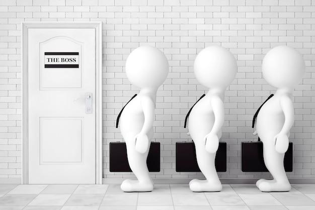 レンガの壁の前でボスのインタビューを待っている列に並んでいる3人の人物。 3dレンダリング