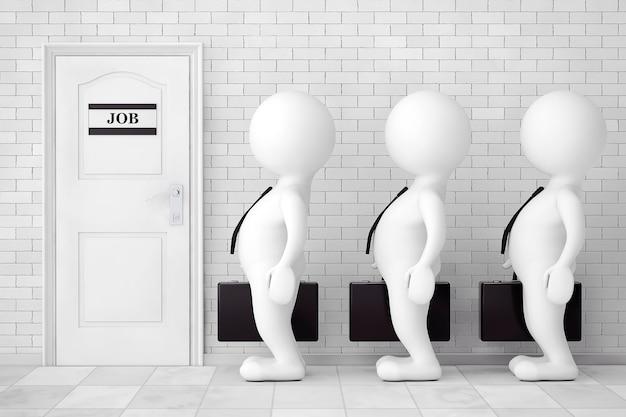 レンガの壁の前で就職の面接を待っている列に並んでいる3人の人。 3dレンダリング