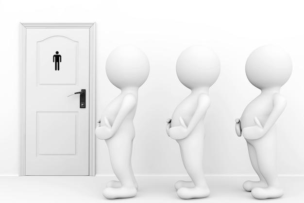 3人の男性はトイレの看板の前でトイレを待つ必要があります