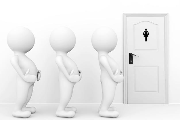 3dの女性はトイレの看板の前でトイレを待つ必要があります