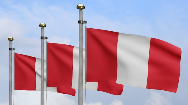3d, peruvian flag waving on wind with blue sky and clouds. close up of peru banner blowing, soft and smooth silk. cloth fabric texture ensign background
