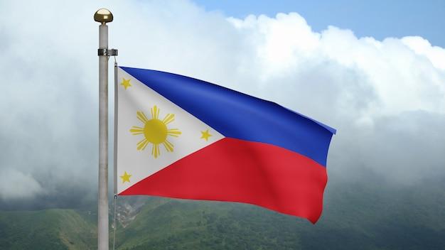 3d、山で風に手を振るフィリピンの旗。滑らかなシルクを吹くフィリピンのバナー。布生地のテクスチャは、背景をエンサインします。建国記念日や国の行事のコンセプトに使用してください。