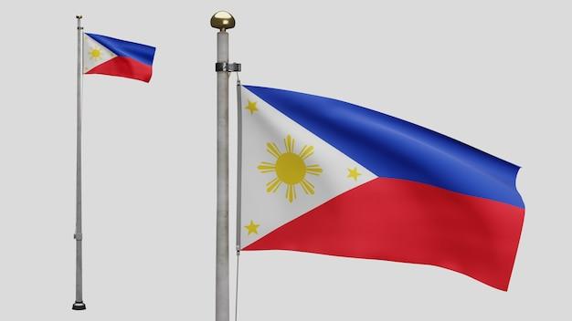 3d、風に手を振るフィリピンの旗。フィリピンのバナー吹く、柔らかく滑らかなシルクのクローズアップ。布生地のテクスチャは、背景をエンサインします。建国記念日や国の行事のコンセプトに使用してください。