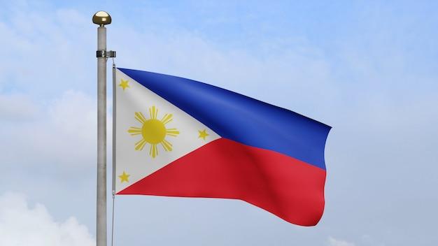 3d、青い空と雲と風に手を振るフィリピンの旗。滑らかなシルクを吹くフィリピンのバナー。布生地のテクスチャは、背景をエンサインします。建国記念日や国の行事のコンセプトに使用してください。