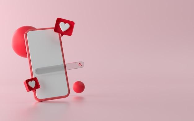 3d-иллюстрация телефона с социальными сетями, такими как кнопка уведомления