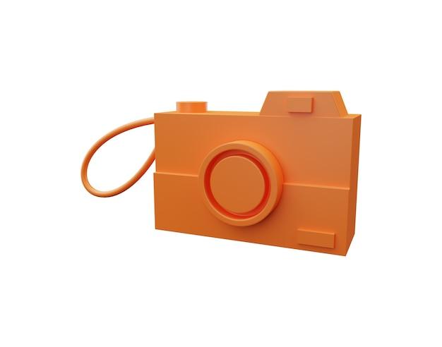 Иллюстрация камеры 3d фото изолированная на белой предпосылке. 3d фотоаппарат иллюстрация