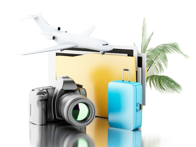 3d photo camera with folder, airplane and suitcase.