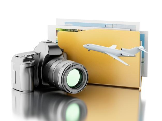 3d photo camera with folder. photo album.