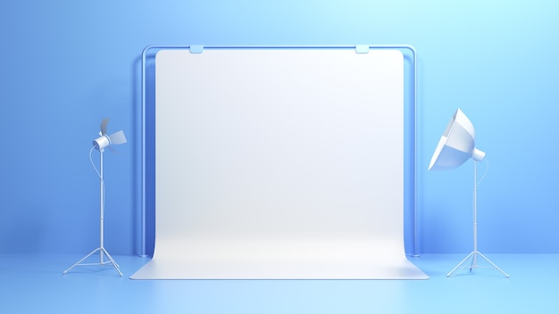 3d 사진 스튜디오 배경입니다. 소프트박스 조명이 있는 사진 스튜디오 흰색 빈 배경입니다. 3d 렌더링 그림