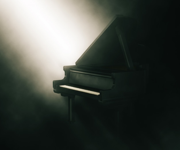 3d piano under moody lighting