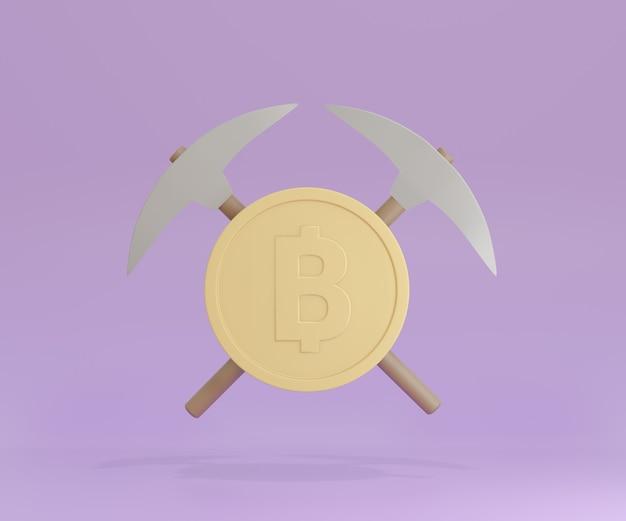 Инструмент добычи топора 3d pick с золотой монетой на фиолетовом фоне. 3d визуализация иллюстрации.