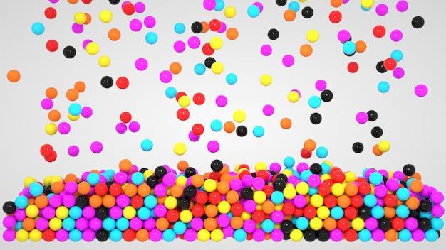 3d изображение, красочные шары на белом фоне. объект иллюстрации, связка шаров и пузырей разного цвета.