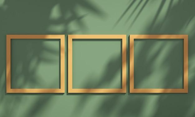 녹색 및 주황색 벽에 나무 그림자가 있는 선반에 3d 그림 프레임, 여름 제품 모형 배경, 3d 렌더링 그림