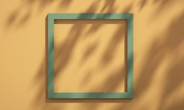 3d фоторамка на полке с тенью дерева на зеленой и оранжевой стене, фон макета летнего продукта, иллюстрация 3d визуализации