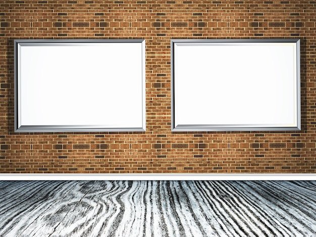 3d-рамы для картин на кирпичной стене с деревянным полом