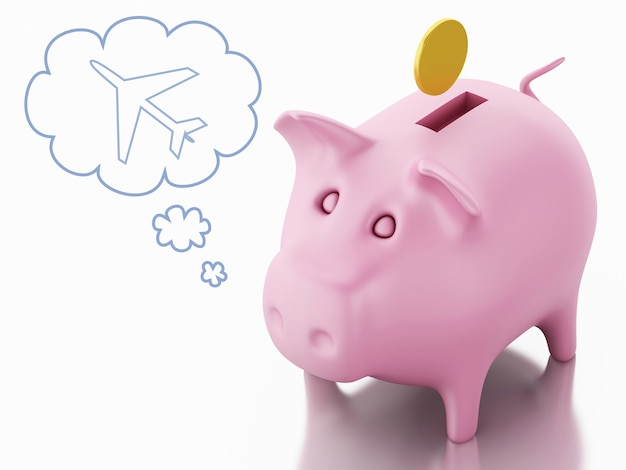 3d piggy bank thinking of holidays. save money concept.