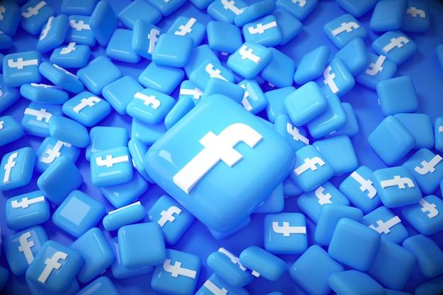 3d куча фона логотипа facebook. facebook известная платформа социальных сетей.