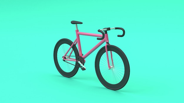 3d pink bicycle 3d rendering cartoon style green