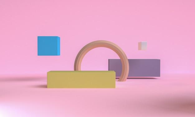 3dピンク色のミニマリストスタイルのデザイン、シーン表彰台のモックアッププレゼンテーション、3dレンダリングの抽象的な背景。