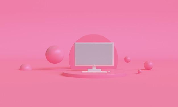 3d 핑크 컴퓨터 색상 미니멀 스타일 디자인, 현장 연단 프리젠 테이션을 모의, 3d 렌더링 추상적 인 배경.